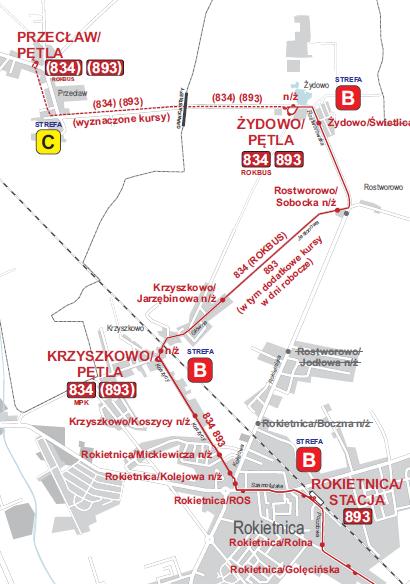 Schemat linii nr 834 i 893 po zmianach w związku z zamknięciem przejazdu na ul. Kolejowej w Rokietnicy. Pomiędzy przystankami Rokietnica/ROS – Rostworowo/Sobocka autobusy zostaną skierowane objazdem przez Krzyszkowo ulicami Koszycy i Główną, a następnie Jesionową w Rostworowie. W związku z powyższym: z użytkowania zostaną wyłączone przystanki: Rokietnica/Boczna n/ż, Rostworowo/Jodłowa n/ż; przeniesiony zostanie przystanek: Rostworowo/Sobocka n/ż; utworzone zostaną dodatkowe przystanki: Krzyszkowo/Pętla n/ż, Krzyszkowo/Jarzębinowa n/ż.