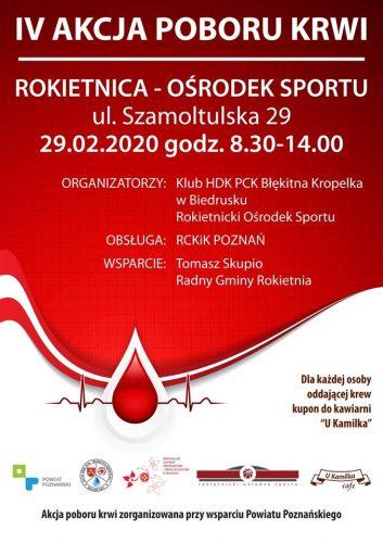 Plakat promujący akcję poboru krwi. Na plakacie zawarte są informacje o dacie, miejscu i organizatorach wydarzenia.