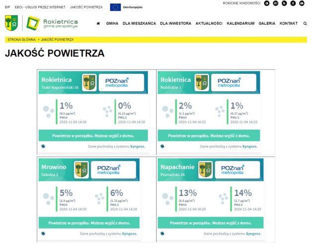 Widok na stronę rokietnica.pl - zakładka jakość powietrza - pomiary z czterech czujników rozlokowanych w gminie.
