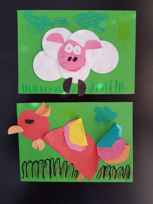 Na zdjęciu prace dzieci wykonane z papieru i płatków kosmetycznych. Na pierwszej - owca, na drugiej - kolorowy ptak.