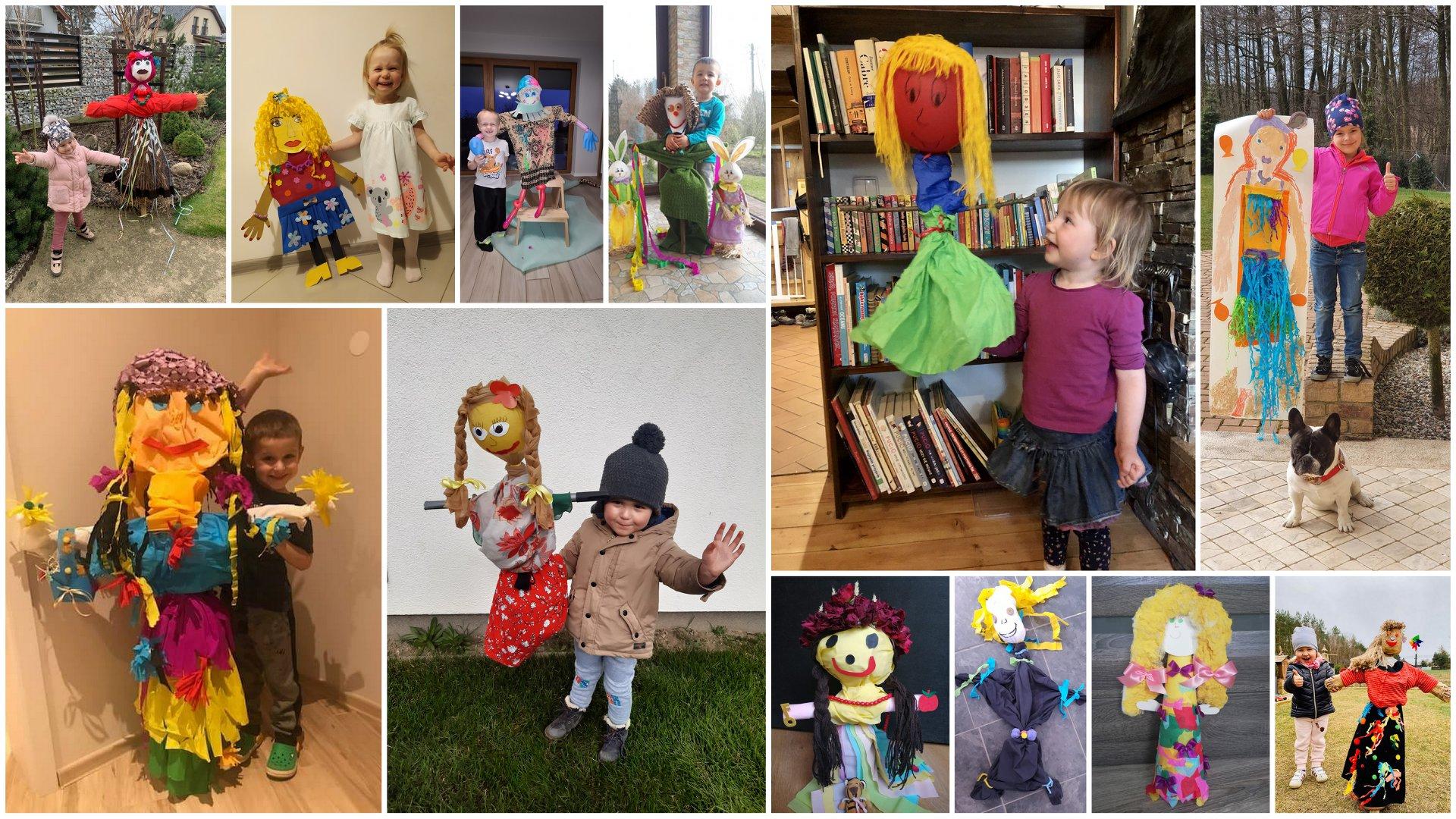 Na kolażu z 12 zdjęć znajdują się dzieci prezentujące wykonane przez siebie marzanny.
