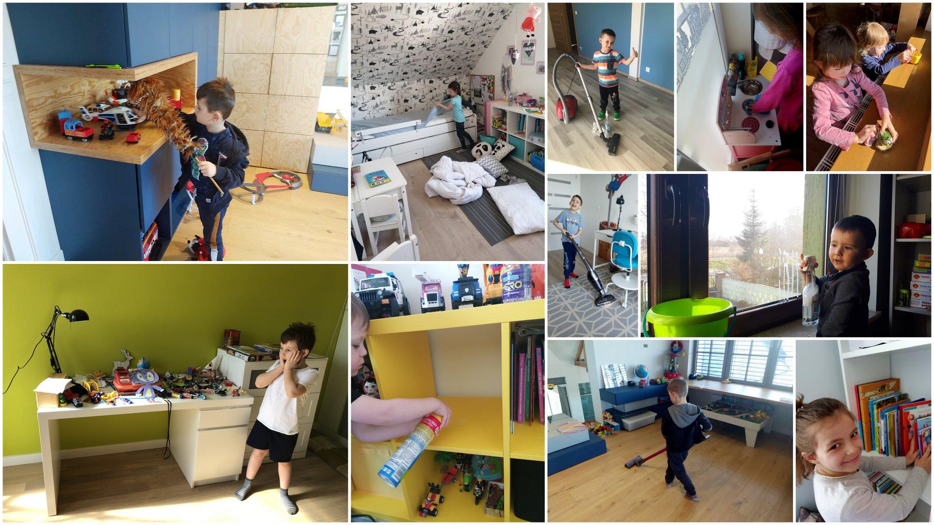 Na kolażu z 10 zdjęć znajdują się dzieci w trakcie sprzątania pokoju. Odkurzają, ścierają kurze, ścielą łóżko, myją okna i układają książki.
