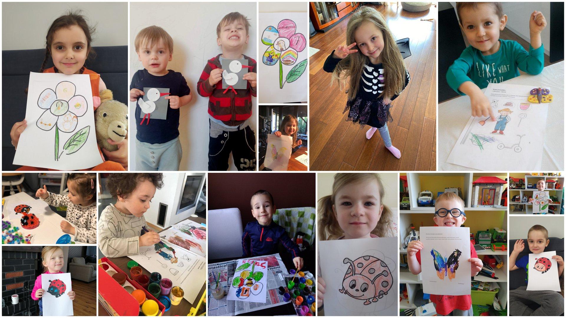 Na kolażu z 14 zdjęć znajdują się dzieci prezentujące wykonane przez siebie prace plastyczne. Są wśród nich kwiatki, bociany, biedronki, motyle i ogrodnicy.
