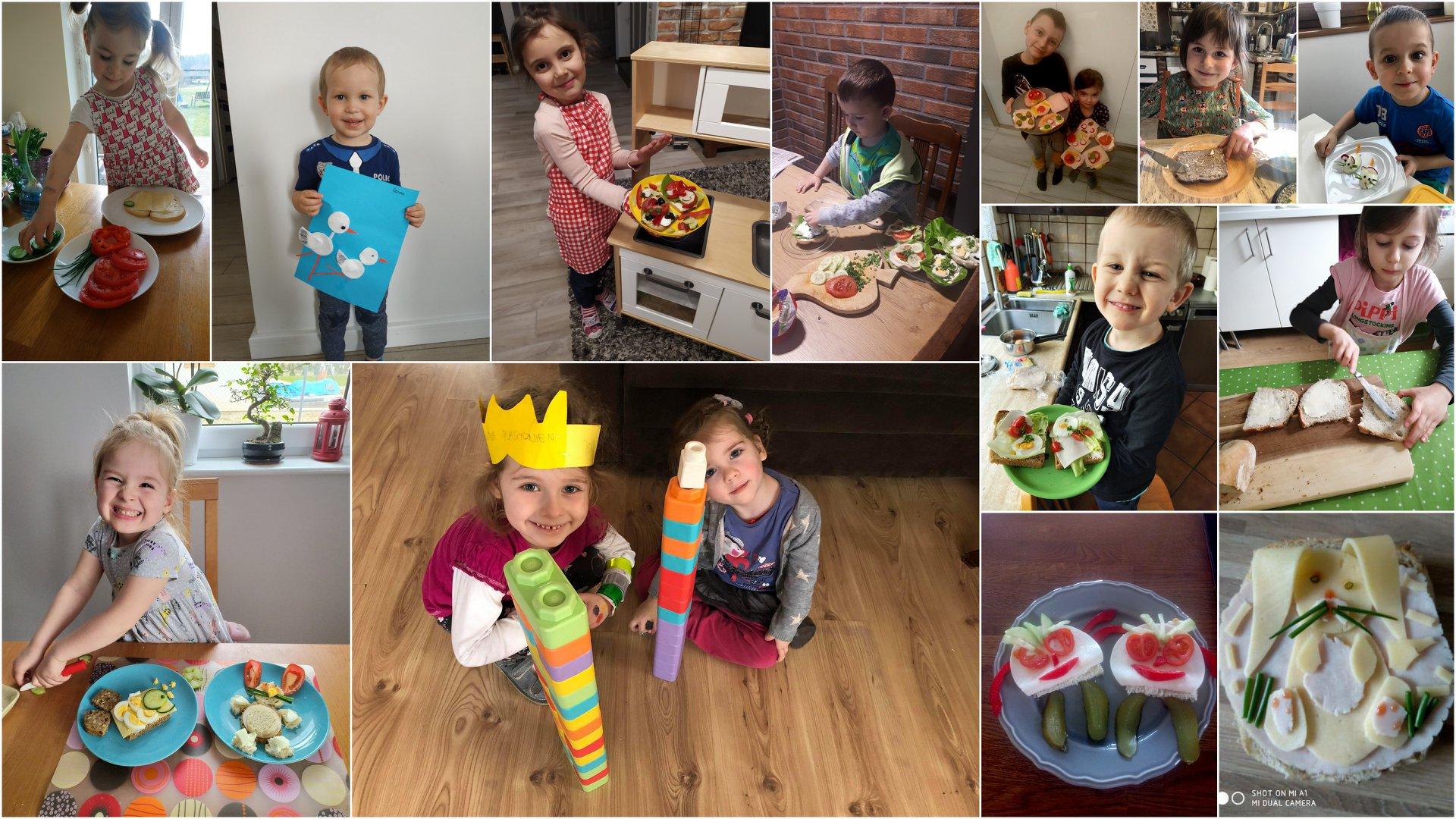 Na kolażu z 13 zdjęć znajdują się dzieci prezentujące przygotowane przez siebie kolorowe kanapki, a także prace plastyczne i budowle z klocków.