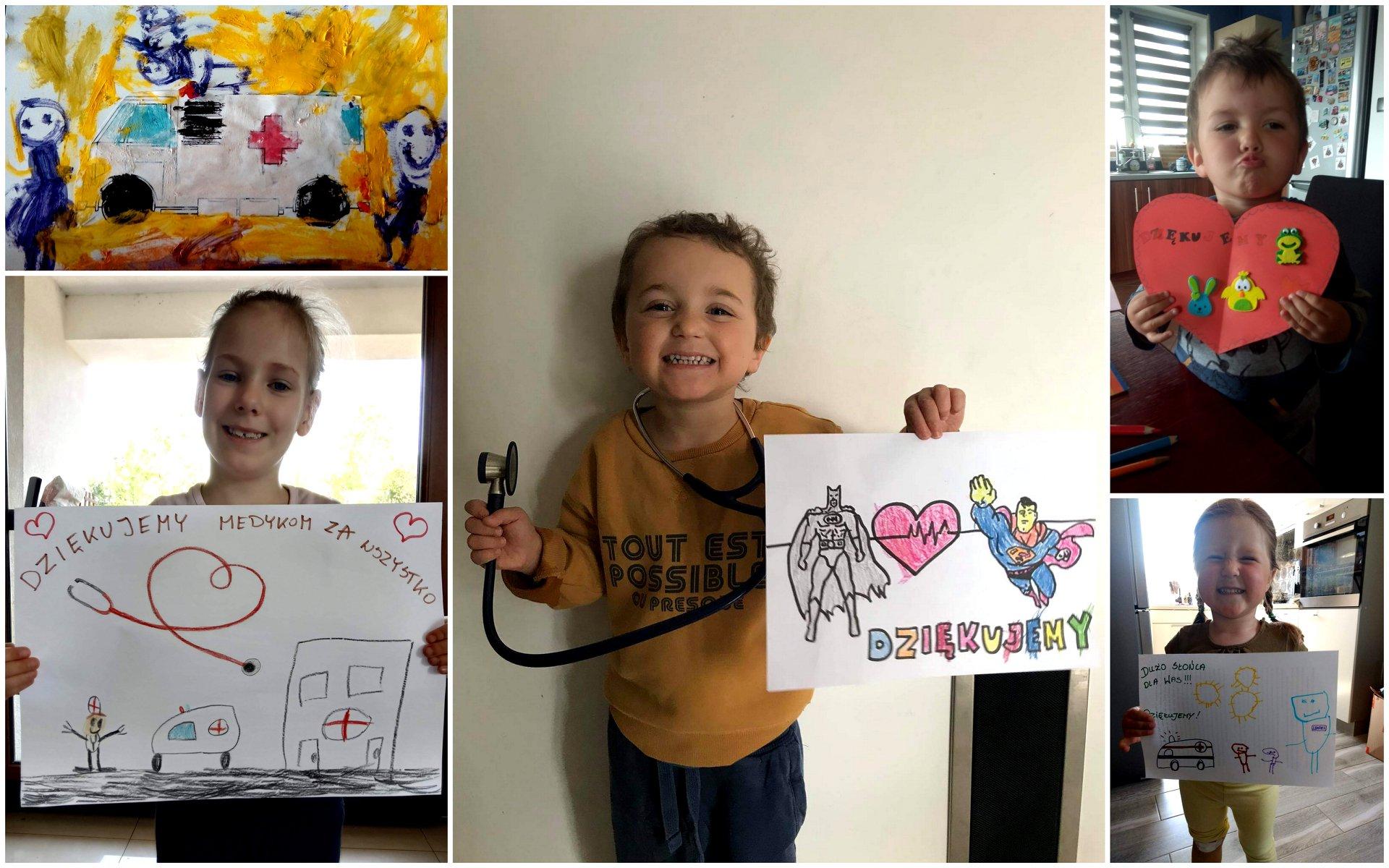 Na kolażu z 5 zdjęć znajdują się dzieci prezentujące wykonane przez siebie Karki dla Medyka w ramach ogólnopolskiej akcji.