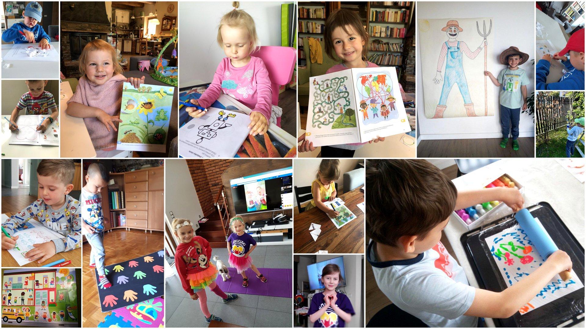 Na kolażu z 15 zdjęć znajdują się dzieci, które tańczą, rysują, kolorują, przyklejają, wykonują prace w ogrodzie i prezentują efekty swoich działań.