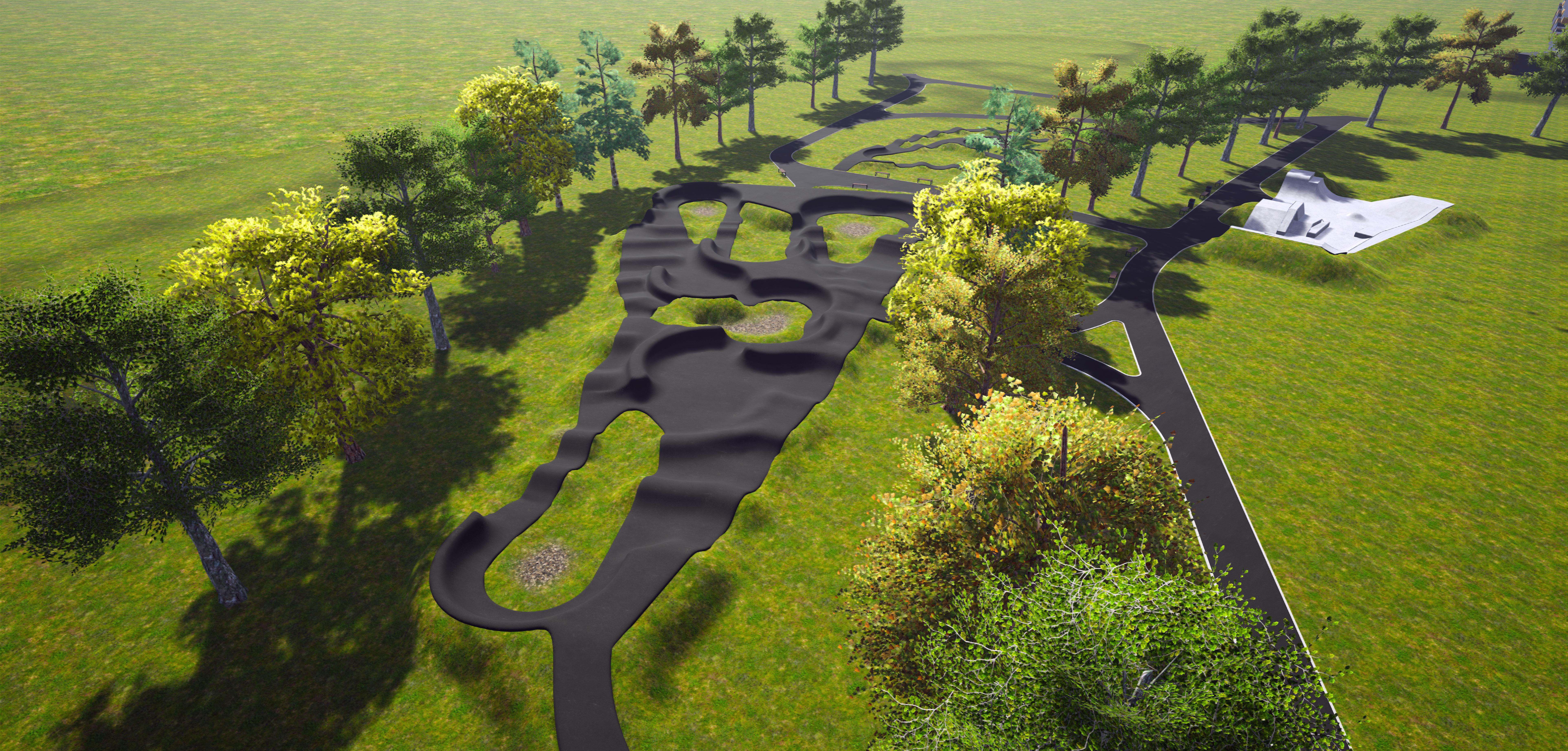 Na grafice znajduje się wizualizacja planowanego skateparku oraz dwóch torów pumptrack w Rokietnicy. Na wizualizacji widoczne jest również zagospodarowanie terenu - rosnące drzewa oraz ścieżki prowadzące do poszczególnych torów.