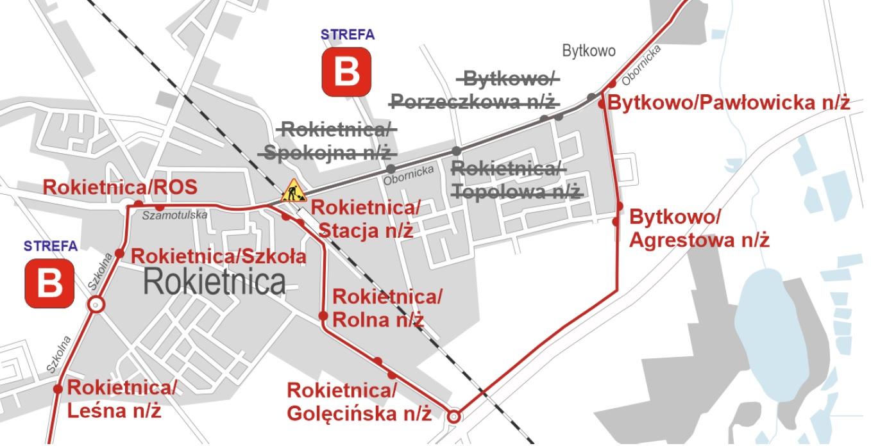 Na mapie widoczna zmieniona trasa linii nr 832 w związku z zamknięciem przejazdu na ul. Obornickiej w Rokietnicy. W związku z powyższym pomiędzy Rokietnicą a Bytkowem autobusy linii nr 832 będą kursować objazdem ulicami Pocztową, Golęcińską i Pawłowicką.