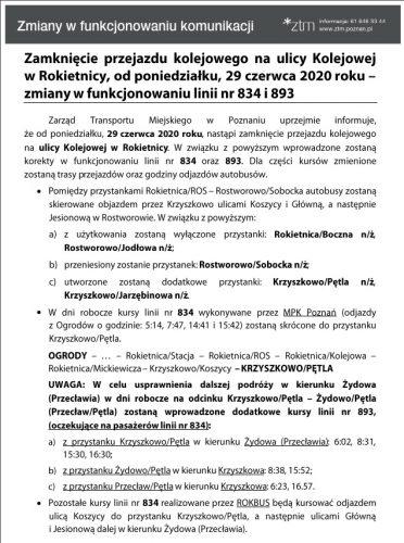 Informacja o zmianach w funkcjonowaniu autobusów linii 834 i 893