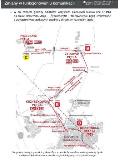 mapka do informacji o zmianach w funkcjonowaniu autobusów linii 834 i 893