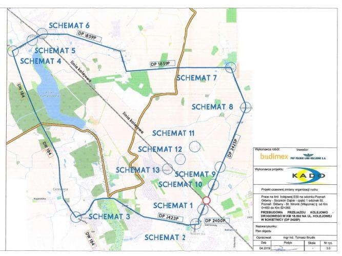 Schemat objazdu przejazdu kolejowego w Rokietnicy
