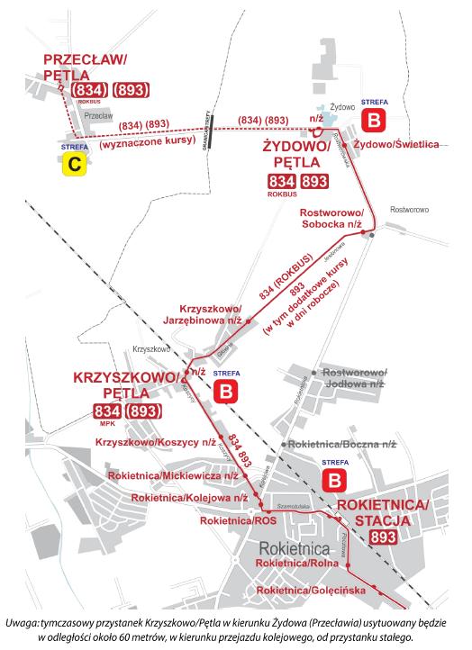 Schemat przedstawia zmienione trasy linii nr 834 i 893 w związku z zamknięciem przejazdu kolejowego na ul. Kolejowej w Rokietnicy.