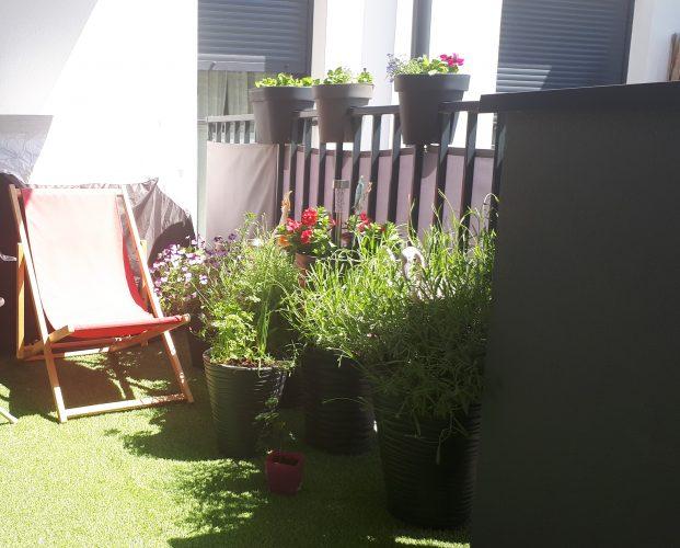 Na zdjęciu widać balkon z ustawionymi donicami z roślinami i leżakiem, na balustradzie usadowione zostały trzy donice z kwiatami.