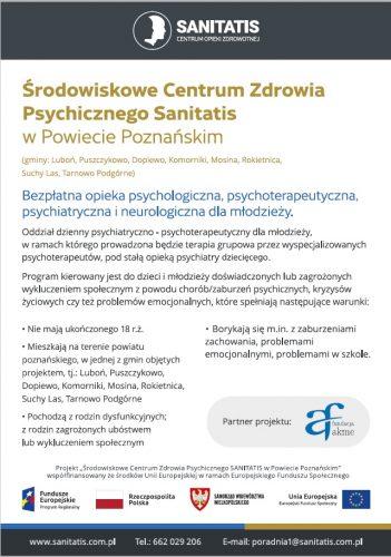 ulotka z informacjami o pomocy psychologicznej, psychoterapeutycznej, neurologicznej dla osób poniżej 18 roku życia