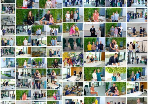 Na kolażu znajduje się 71 zdjęć wykonanych podczas otwarcia szkoły podstawowej w Cerekwicy. Fot. Damian Nowicki