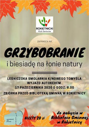 plakat informujący o grzybobraniu organizowanym przez Rokietnicki Klub Seniorów