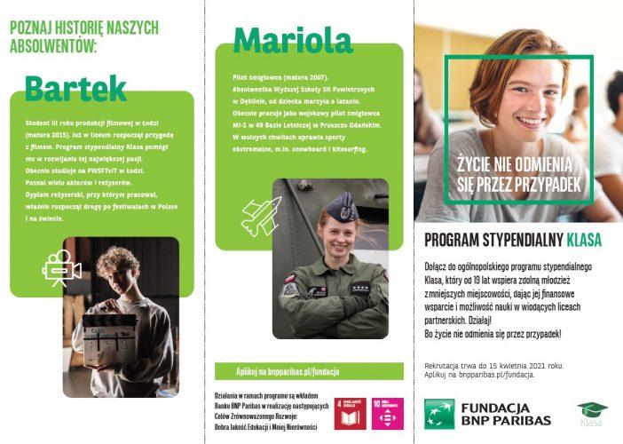 """na zdjęciu widać pierwszą stronę ulotki promującej program stypendialny """"Klasa"""", którego organizatorem jest Bank BNP Paribas."""