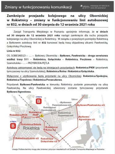 Zdjęcie przedstawia informację o zmianach w komunikacji publicznej związanych z zamknięciem przejazdu kolejowego na ul. Obornickiej w Rokietnicy